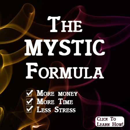 Mystic Formula banner ad for more money more time less stress